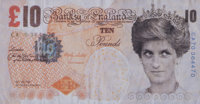Banksy (b. 1974) Di-Faced Tenner, 10 GBP Note, 2005 Offset lithograph in colors 3 x 5-5/8 inches