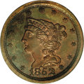 Proof Braided Hair Half Cents: , 1852 1/2 C Restrike, Small Berries PR64 Red and Brown PCGS. B-2,R.5. One of Breen's First Restrikes, identified by small b...