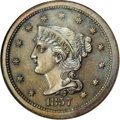 Proof Large Cents: , 1857 1C Small Date PR66 Brown NGC. N-3, Low R.5. A bold die line onLiberty's bust truncation confirms this rare proof-only...