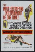 "Movie Posters:Mystery, Witness for the Prosecution (United Artists, 1957). One Sheet (27""X 41""). Thriller. Starring Tyrone Power, Marlene Dietrich..."