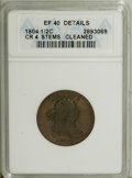 1804 1/2 C Plain 4, No Stems--Cleaned--ANACS. XF40 Details. CR-4. NGC Census: (27/472). PCGS Population (45/340). Mintag...
