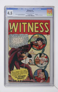 Golden Age (1938-1955):Crime, Witness #1 (Marvel, 1948) CGC VG+ 4.5 Off-white to white pages....