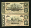 Confederate Notes:1864 Issues, T67 $20 1864 Two Consecutive Examples. Both of these notes have been nicely cared for over the years.. ... (Total: 2 notes)