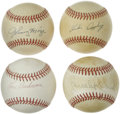 Autographs:Baseballs, Baseball Hall of Famers Single Signed Baseballs Lot of 4. Each ofthe OAL (Brown) baseballs that we see here has been signe...