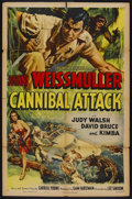 "Movie Posters:Adventure, Cannibal Attack (Columbia, 1954). One Sheet (27"" X 41""). Adventure.Starring Johnny Weissmuller, Judy Walsh, David Bruce and..."