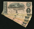 Confederate Notes:1864 Issues, T68 $10 VF, tape. T69 $5 1864 Five Examples VG or Better. The $5s may be missing a piece or two.. ... (Total: 6 notes)