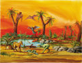 Illustration:Science Fiction, AMERICAN ILLUSTRATOR (20th Century) . Aurora Prehistoric Scenes:Jungle Swamp, 1972, original model kit box art . Gouach...(Total: 2 Items)