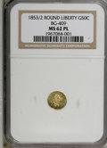 California Fractional Gold, 1853/2 50C BG-409 MS62 Prooflike NGC. (#710445)...