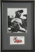 Autographs:Others, Satchel Paige Signed Business Card Display. When the New OrleansPelicans minor league team moved to Springfield, IL in 1978...