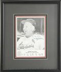 Autographs:Photos, Dizzy Dean Signed Photograph. This photographic card that honorsDizzy Dean's inclusion in Cooperstown's Hall of Fame has a...