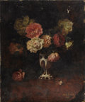 Fine Art - Painting, European:Modern  (1900 1949)  , ANTON WRABETZ (Austrian 1876-1946). Still Life with Roses in aBohemian Vase, 1923. Oil on panel. 16-1/2 x 20-1/2 inches...