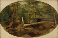WILLIAM HOLBROOK BEARD (American 1824-1900) Bear in the Forest, 1868 Oil on canvas 11 x 17 inches
