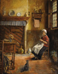 Fine Art - Painting, European, VICTOR ANTHONIS (OR ANTHOONS) (Belgian 1862-1941). DomesticInterior with Woman Knitting, 1928. Oil on original unli...