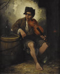 Fine Art - Painting, European:Antique  (Pre 1900), J.L. RONAY (Hungarian, Nineteenth Century). Boy with aViolin. Oil on original unlined canvas. 32 x 25-1/4 inches(81.3 ...