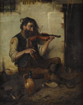 Paintings, J.L. RONAY (Hungarian, Nineteenth Century). Seated Man with Violin. Oil on original unlined canvas. 31 x 25 inches (78.7...