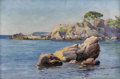 19th Century European, F. TAUFFRETZ (European Nineteenth Century). Rocky Shore,Capri. Oil on canvas. 12 x 18-1/4 inches (30.5 x 46.4 cm).Sign...