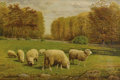 Fine Art - Painting, American, CLINTON LOVERIDGE (American 1824-1902). Grazing Sheep, circa1875. Oil on canvas. 16 x 24 inches (40.6 x 61.0 cm). Signe...
