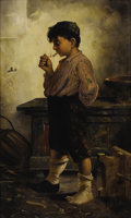 Fine Art - Painting, European, FRANÇOIS XAVIER BRICARD (French, Nineteenth/Twentieth Century).The First Cigar. Oil on original unlined canvas. 32-3/8 ...