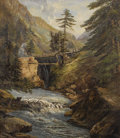 Other, Attributed to ANTONIO MARTINETTI. Mountain Pass. Oil oncanvas mounted on board. 64-1/4 x 56-1/4 inches (163.2 x 142.9 c...