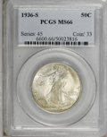 Walking Liberty Half Dollars, 1936-S 50C MS66 PCGS....