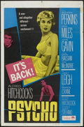 "Movie Posters:Hitchcock, Psycho (Paramount, R-1965). One Sheet (27"" X 41""). Hitchcock. ..."
