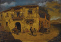 Fine Art - Painting, European:Antique  (Pre 1900), JUAN DIOS DEL VALLE (Spanish b. 1856). Granada Street Scene withDonkey and Chickens, circa 1880s. Oil on artist's board...