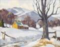 Fine Art - Painting, American:Modern  (1900 1949)  , ANTHONY THIEME (American 1888-1954). Snow Scene. Oil oncanvasboard. 16 x 20 inches (40.6 x 50.8 cm). Signed lower left:...