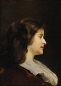 Fine Art - Painting, European:Antique  (Pre 1900), LÉON GOUPIL (French 1834-1890). Profile of an Elegant Woman inRed. Oil on beveled wood board. 12-7/8 x 9-3/8 inches (32...