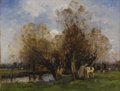 Fine Art - Painting, European:Antique  (Pre 1900), LOUIS AIME JAPY (Swiss 1840-1916). Cattle Grazing by a Pond,1882. Oil on cradled mahogany panel. 12-1/2 x 16 inches (31...
