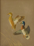 Texas:Early Texas Art - Impressionists, REVEAU BASSETT (1897-1981). Untitled Two Ducks. Gouache on paper.8-1/2 x 6-1/2 inches (21.6 x 16.5 cm). Signed lower left. ...