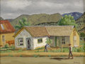 Texas:Early Texas Art - Regionalists, FRED DARGE (1900-1978). Working the Garden (Lincoln NewMexico). Oil on canvasboard. 9 x 12 inches (22.9 x 30.5 cm).Sig...