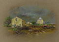 """Works on Paper, E. M. """"BUCK"""" SCHIWETZ (1898-1984). The Dietrich Rode Place Cherry Springs, Tex., 1969. Watercolor, pastel, and ink on br..."""