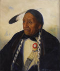 Miscellaneous, KATHRYN WOODMAN LEIGHTON (American 1876-1952). Pawnee Chief.Oil on canvas. 27 x 36 inches (68.6 x 91.4 cm). Signed lowe...