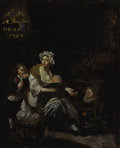 Fine Art - Painting, European:Antique  (Pre 1900), Attributed to MICHEL DE BOUILLON (Franco/Flemish 17th/18thCentury). Kitchen Still Life with Mother and Children, InfantN...