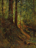 Fine Art - Painting, American:Modern  (1900 1949)  , DAVID HOWARD HITCHCOCK (American 1861-1943). Forest Scene,June 21, 1910. Oil on canvas. 20 x 16 inches (50.8 x 40.6 cm)...