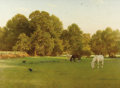 Paintings, GEORGE DUNLOP LESLIE (British 1835-1921). Day of Rest, Wallingford, 1897. Oil on canvas stretched over board. 38 x 52-3/...