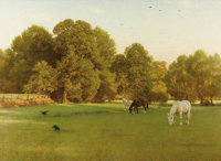 GEORGE DUNLOP LESLIE (British 1835-1921) Day of Rest, Wallingford, 1897 Oil on canvas stretched over