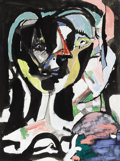Fine Art - Painting, American:Contemporary   (1950 to present)  , KARL HERMAN BAUMANN (American 1911-1984). Untitled, AbstractPortrait, 1954. Oil on paper. 23-3/4 x 18 inches (60.3 x 45...