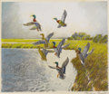 Texas:Early Texas Art - Impressionists, REVEAU BASSETT (1897-1981). Untitled Ducks Taking Flight.Lithograph with oil and watercolor on paper. 11-3/4 x 13-3/4inche...
