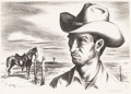 Texas:Early Texas Art - Regionalists, JERRY BYWATERS (1906-1989). Ranch Hand and Pony. Lithographon paper. 10 x 13 inches (25.4 x 33.0 cm). Signed lower righ...