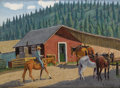 Texas:Early Texas Art - Regionalists, FRED DARGE (1900-1978). Riding Stable (Cloudcroft NewMexico). Oil on canvasboard. 9 x 12 inches (22.9 x 30.5 cm).Signe...