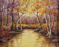 Texas:Early Texas Art - Impressionists, EMMA DILLARD (1879-1968). Untitled Fall Landscape with Creek. Oilon canvas. 16 x 20 inches (40.6 x 50.8 cm). Signed lower r...