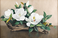 DOLLIE NABINGER (1905-1988) Untitled Magnolia Blossoms Oil on canvas 24 x 36 inches (61.0 x 91.4 cm) Sign