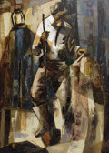 Texas:Early Texas Art - Modernists, CECIL CASEBIER (1922-1996). Untitled Workman with Shovel,1953. Oil on masonite. 40 x 24 inches (101.6 x 61.0 cm). Signe...