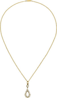 Antique Diamond, Gold Pendant-Necklace  The drop pendant features mine-cut diamonds weighing a total of approximately 2...