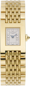 Timepieces:Wristwatch, Chaumet Lady's Diamond, Gold Integral Bracelet Watch, circa 1990. Case: 30 x 20 mm, rectangular-shaped 18k yellow gold wit... (Total: 1 Item)