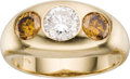 Estate Jewelry:Rings, Gentleman's Colored Diamond, Diamond, Gold Ring. The ring features a round brilliant-cut diamond measuring 6.50 - 6.52 x 4... (Total: 1 Item)