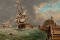 Fine Art - Painting, American:Antique  (Pre 1900), Attributed to A.G. Frank (Dutch, 19th Century). MarineScene, 1893. Oil on canvas. 8 x 12 inches (20.3 x 30.5 cm).Initi...