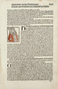 Fine Art - Work on Paper:Print, The Cologne Chronicle, 1499. Single leaf with woodcut illustration.11-3/4 x 7-3/4 inches (29.8 x 19.7 cm). Published by Joh...