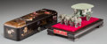 Asian:Chinese, A Japanese Lacquered Brush Box with Chinese Model of Emperor QinShi Huang's Carriage, 20th century. 2-3/4 h x 12 w x 3-1/2 ...(Total: 2 Items)
